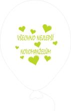 Balónky svatební - Pearl 070 se světle zeleným potiskem