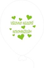 Balónky svatební - Pearl 070 se zeleným potiskem