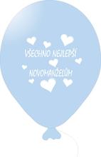 Balónky svatební - Light Blue 073 s bílým potiskem