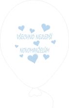 Balónky svatební - Pearl 070 se světle modrým potiskem