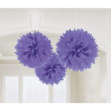 Závěsné dekorace fialové 3 ks 40,6 cm