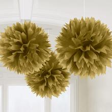 Závěsné dekorace zlaté 3 ks 40,6 cm