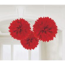 Závěsné dekorace červené 3 ks 40,6 cm