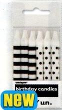 Svíčky černo-bílé 12ks