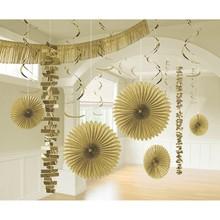 Závěsné dekorace zlaté 18 ks