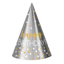 Čepičky k narozeninám stříbrno-zlaté 12 ks