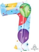 Balónky fóliové narozeniny číslo 7 motiv balónky 86cm