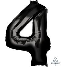 Balónek foliový narozeniny číslo 4 černý 86 cm