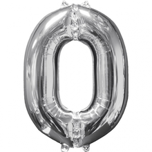 Balónek fóliový narozeniny číslo 0 stříbrný 66cm