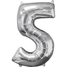 Balónek fóliový narozeniny číslo 5 stříbrný 66cm