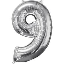 Balónek fóliový narozeniny číslo 9 stříbrný 66cm