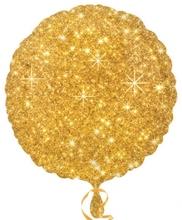 Balónek kruh zlatý - hvězdy 43cm