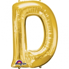 Písmena D zlaté foliové balónky 83 cm x 60 cm