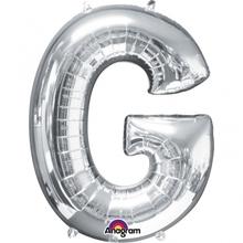 Písmena G stříbrné foliové balónky 81 cm x 63cm