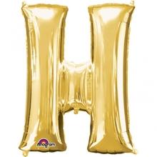 Písmena H zlaté foliové balónky 81 cm x 66 cm