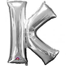 Písmena K stříbrné foliové balónky 83 cm x 66 cm