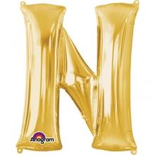 Písmena N zlaté foliové balónky 81 cm x 60 cm