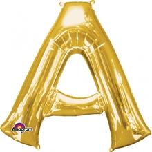 Písmena A zlaté foliové balónky 33 cm x 35 cm