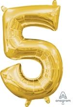 Balónek foliový narozeniny číslo 5 zlatý 35cm x 22cm