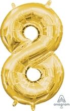 Balónek foliový narozeniny číslo 8 zlatý 35cm x 20cm