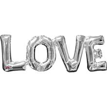 LOVE foliový balónek stříbrný 63cm x 22cm