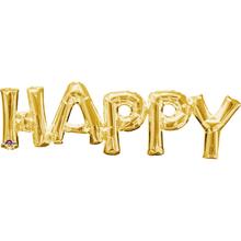 HAPPY zlatý fóliový balónek 76 cm x 25 cm