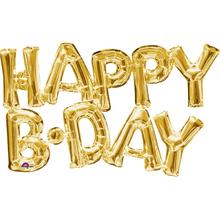Foliové balónky zlaté HAPPY B.DAY 76cm x 48cm