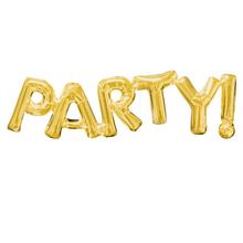 Foliové balónky zlaté PARTY! 83cm x 22cm a9a5dbefbc