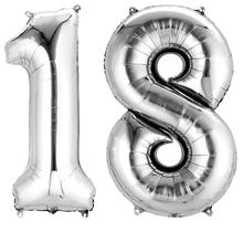 Balónky fóliové narozeniny číslo 18 stříbrné 86cm