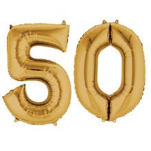Balónky fóliové narozeniny číslo 50 zlaté 86cm