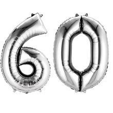 Balónky fóliové narozeniny číslo 60 stříbrna 86cm