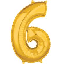 Balónek fóliový narozeniny číslo 6 zlatý 66cm
