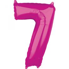 7. narozeniny balónek fóliový číslo 7 růžový 66 cm