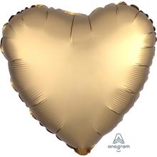 Balónek srdce foliové satén zlaté 42 cm