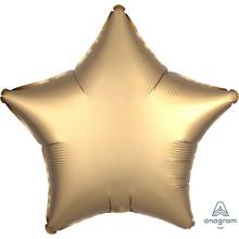 Balónek hvězda foliová satén zlatá 42 cm