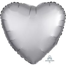 Balónek srdce foliové satén stříbrné 42 cm