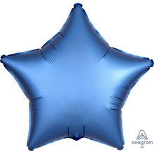 Balónek hvězda foliová satén modrá 42 cm