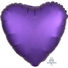 Balónek srdce foliové satén fialové 42 cm