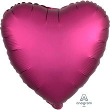 Balónek srdce foliové satén tmavě červený 42 cm