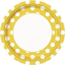 Talíře žluto - bílé tečky 8ks 23cm