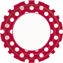 Talíře červeno - bílé tečky 8ks 23cm