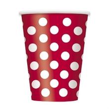 Kelímky červeno - bílé tečky 6ks 355ml