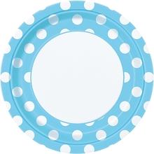 Talíře světle modro - bílé tečky 8ks 23cm