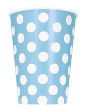 Kelímky světle modro - bílé tečky 6ks 355ml