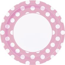 Talíře světle růžovo - bílé tečky 8ks 23cm