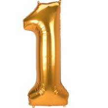 Balónek číslo 1 velké zlaté 134 cm x 55 cm