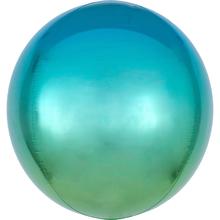 Foliový balónek koule modro-zelená 38 cm