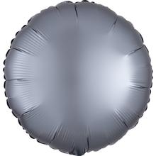 Balónek kruh foliová satén světle šedá