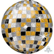 Disco koule zlato-stříbrno-černý balónek 38 cm x 40 cm