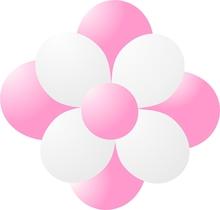 Balónky kytka světle růžová